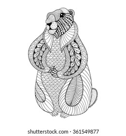 Hand drawn Groundhog for adult coloring pages in doodle, zentangle tribal style, Groundhog Day ethnic ornamental tattoo, patterned t-shirt or prints. Animal vector illustration.