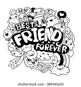 hand drawn group of cute monster for you design style quick sketch ,best friend for ever vector