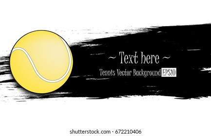 Hand drawn grunge banner with tennis ball. Black background with splashes of watercolor ink and blots. Vector illustration