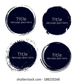 hand drawn grunge circle frame vector illustration