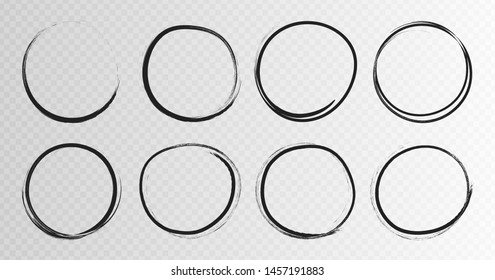Hand drawn grunge circles sketch frame super set. Rounds scribble line circles. Vector illustrations.