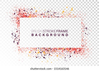 Hand drawn grunge frame rectangular shape. Various colors splaches with copy space. Abstract artistic horizontal background.