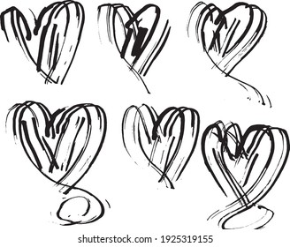Hand Drawn Grunge Heart Shape Isolated Vector Illustration. Doodle Heart.
