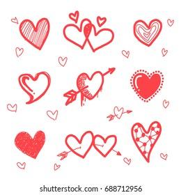 Hand drawn grunge hearts set, vector design elements.