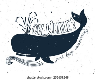 Hand drawn grunge illustration of whale