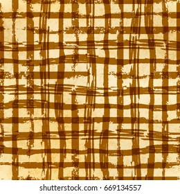 Hand drawn grunge ink grid on yellow old paper, seamless pattern