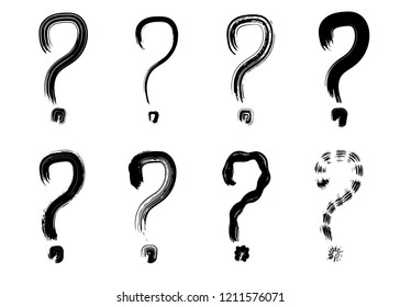 Hand drawn grunge question marks. Dry brush paint strokes, vector, isolated