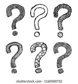 Hand drawn grunge questions marks set illustration