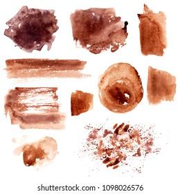 Hand drawn grunge watercolor textures. Coffee stains and strokes. For food and drink background or coffee menu design.