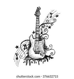 Hand drawn guitar. Vector illustration.