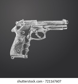 Hand Drawn Gun Sketch Symbol isolated on chalkboard. Vector Gun Shop Element In Trendy Style