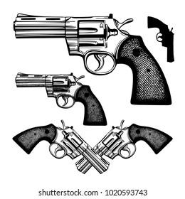 Hand drawn gun. Vintage revolver vector illustration.