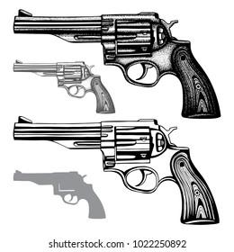 Hand drawn gun. Vintage revolver vector illustrations set.