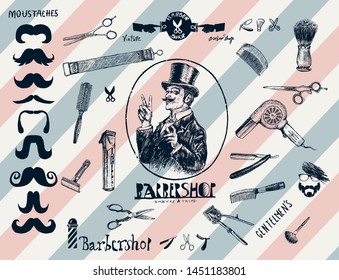 Hand drawn hairdressers professional tools. Barber Stylist Tools. Retro engraving style. Set of vintage Barbershop hair salon logo, labels, badges, street signs, design element, portrait of gentleman