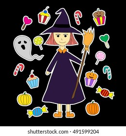 hand drawn halloween doodles cartoons with colorful ghosts, pumpkins, candy, cupcake and cute witch holding broom for decorate on dark background