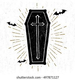 Hand drawn Halloween icon with a textured coffin vector illustration.