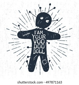"Hand drawn Halloween label with textured voodoo doll vector illustration and ""I am your voodoo doll"" lettering."