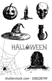 Hand- drawn Halloween related items