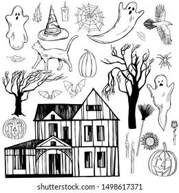 Hand drawn halloween set. Vector sketch illustration.