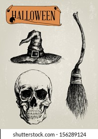 Hand Drawn Halloween Shapes Set - Skull, Witch Hat, Witch Broom