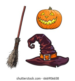 Hand drawn Halloween symbols - pumpking lantern, pointed hat and witch broom, sketch vector illustration isolated on white background. Sketch style Halloween pumpkin jack o lantern, hat, broomstick