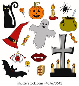 Hand drawn halloween symbols vector set. Ghost pumpkin and grave and candles