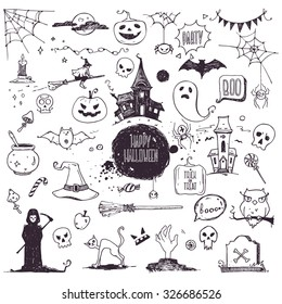 Hand drawn Halloween traditional symbols. Doodle style illustrations: carved pumpkin, spider webs, witch on a broom, bat, zombie hands, skulls, grim reaper, magic potion pot. Isolated vector on white.