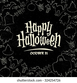 Hand Drawn Halloween Vector Background - Trick or Treat