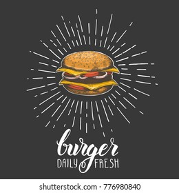 Hand drawn hamburger on black. Trendy element for fast food menu. Hand made lettring. Vector object. Sketch, engraving. Banner, flyer, brochure. Advertising