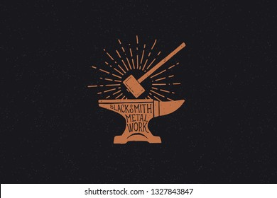 Hand drawn hammer and anvil in the rays of light. Black metal work. Blacksmithing vintage label. Monochrome style. Vector illustration.