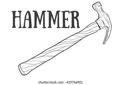 Hand drawn hammer vector sketch. Doodle drawing. Vector sketch house remodel tool. Home repair service. Flat style toola for building