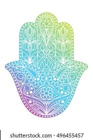 Hand drawn Hamsa symbol.  Hand of Fatima. Ethnic  Indian, Arabic, Jewish hamsa amulet. Colorful Hamsa symbol with floral ornament. Decorative hamsa. Hamsa amulet. Hamsa talisman. Vector hamsa sign.