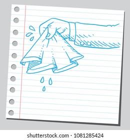 Hand drawn handkerchief in hand