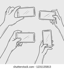 Hand drawn Hands Hold smartphone taking selfie and photo blank template Vector illustration