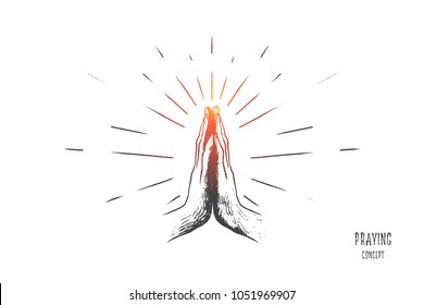 Hand drawn hands in praying position. Prayer to god with faith and hope isolated vector illustration.