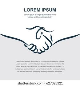 Hand Drawn Handshake background for booklet, brochure or flyer design.
