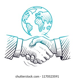 Hand drawn handshake. International business concept with handshaking and globe. Sketch global partnership leadership vector background. Illustration of respect partner and congratulating