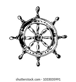 Hand drawn handwheel. Vector illustration . Illustrator 10