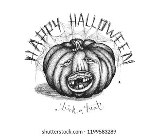 Hand drawn handwriting lettering happy halloween spooky smiling toothless pumpkin