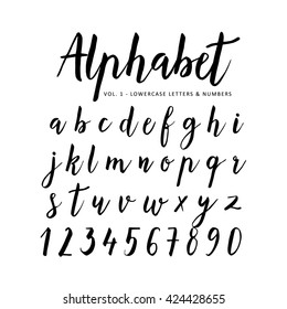 Hand Drawn Handwritten Vector Alphabet Brush Font Script Isolated Letters Written With