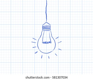 Hand drawn hanging light bulb on graph paper background