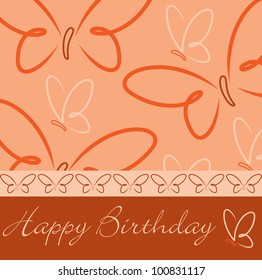 hand drawn Happy Birthday butterfly card in vector format.