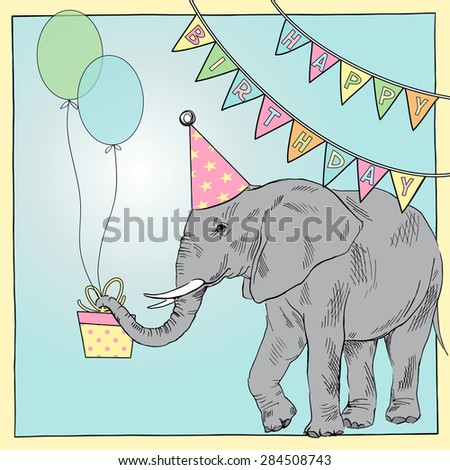 Hand Drawn Happy Birthday Card Elephant Stock Vector Royalty Free