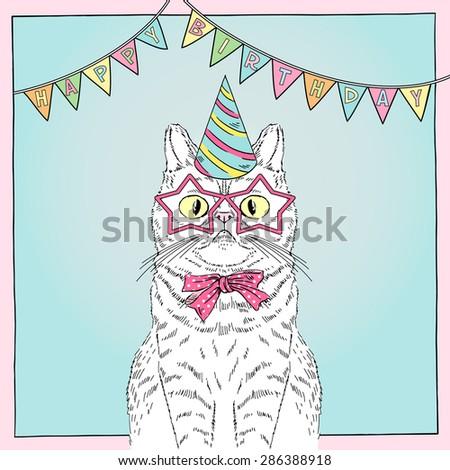 Hand Drawn Happy Birthday Card With Funny Cat Greeting Art Congratulatory Design