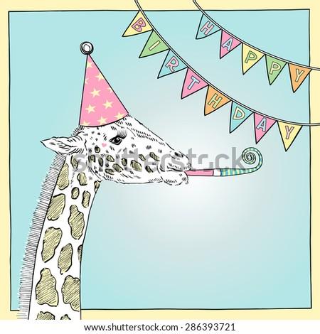 Hand Drawn Happy Birthday Card Giraffe Stock Vector Royalty Free