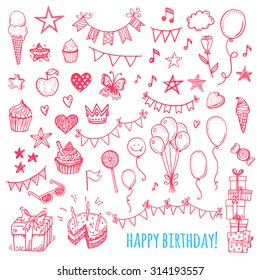 Hand drawn happy birthday party icons. Cakes, sweets, balloons, bunting flags.