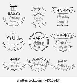 Hand Drawn Happy Birthday Typographic Set.