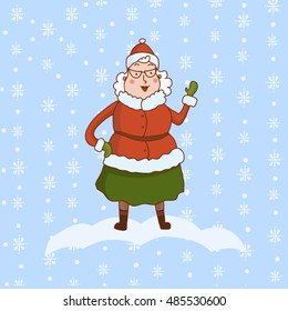 Hand drawn happy cartoon Mrs Claus. Merry Christmas and New Year symbol. Fun Xmas holiday character. Vector illustration of cute Santa Claus wife on flakes background.