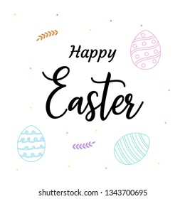 Hand drawn Happy Easter greeting card  with egg composition. - vetor