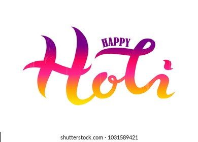 Hand drawn Happy Holi text textured typography lettering poster. Vector illustration for Holi festival, greeting cards, postcards, invitations. Indian Festival of Colors design for banner, print, card